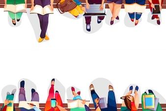 Studenci collegu siedzi na ławce Ilustracja uniwersyteckie dziewczyny i chłopcy z torbami, laptop