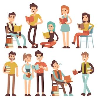 Studenci czytający książki. młodzi ludzie czytają dokumenty wektor postaci z kreskówek