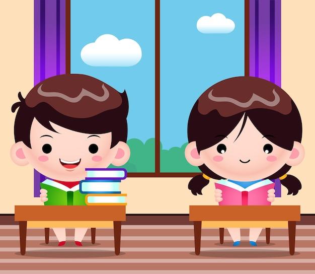 Studenci, czytanie książek w bibliotece ilustracja kreskówka