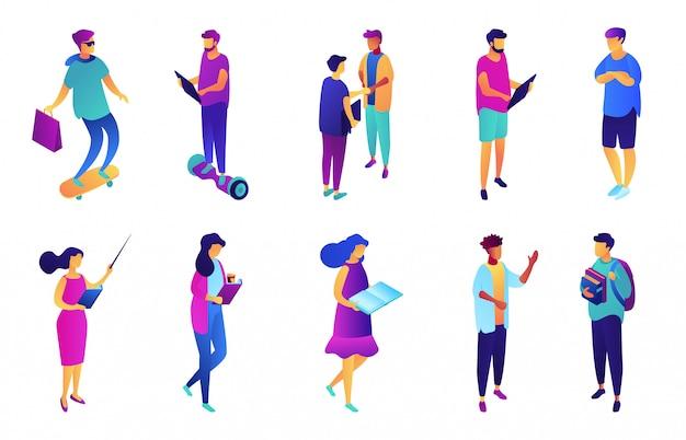 Studenci i ludzie biznesu izometryczny 3d ilustracji zestaw.