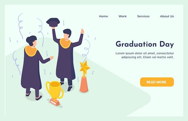 Studenci kończący studia z dyplomem postacie mężczyzna i kobieta studia ukończenia edukacji koncepcja z izometryczny nowoczesny styl strony docelowej