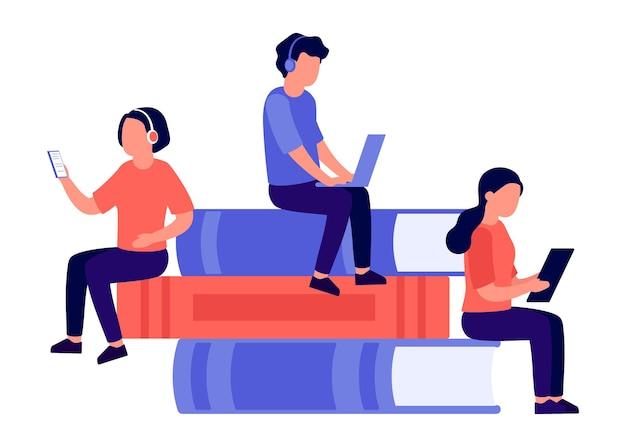 Studenci, mężczyzna i kobieta siedzą na stosie książek, czytają książki, uczą się o technologii nauka online