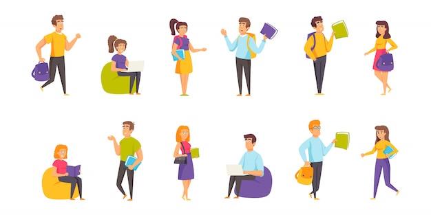 Studenci, osoby uczące się ludzie zestaw znaków płaskich