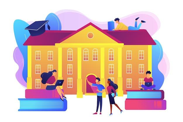 Studenci współdziałają ze sobą, nawiązują przyjaźnie na uniwersytecie. wycieczki po kampusie uniwersyteckim, wydarzenia na kampusie uniwersyteckim, koncepcja uczenia się w kampusie.