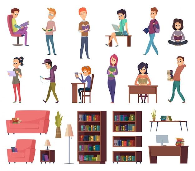 Studenci z książkami. ludzie w bibliotece czytają w bibliotekach ilustracje znaków wiedzy szkolnej