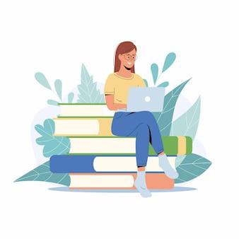 Studencka dziewczyna studiuje z laptopem. młoda kobieta siedzi na stosie książek, zdobywając wiedzę online. ilustracja do e-learningu, kursu internetowego, koncepcji szkoły