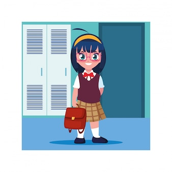 Studencka dziewczyna w szkolnym korytarzu z szafkami, z powrotem do szkoły