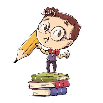 Studencki chłopiec z gigantycznym ołówkiem i książkami