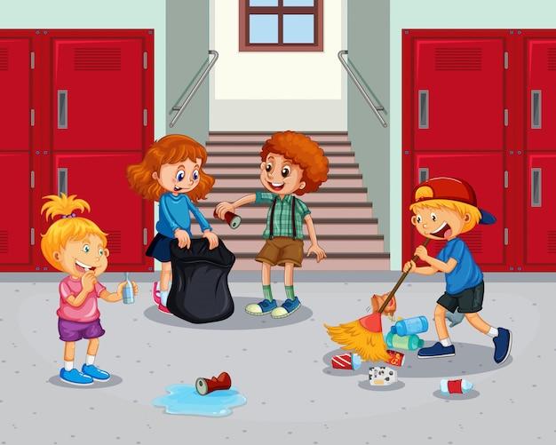 Student czyści szkolny korytarz