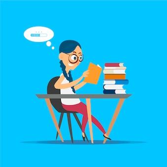 Student czyta górę książek siedzi przy biurku, kreskówki ilustracja na błękitnym tle.