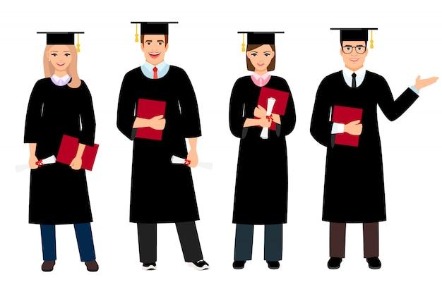 Student graduation zestaw ilustracji wektorowych. uniwersyteccy żeńscy i męscy ucznie magisterscy ludzie odizolowywający