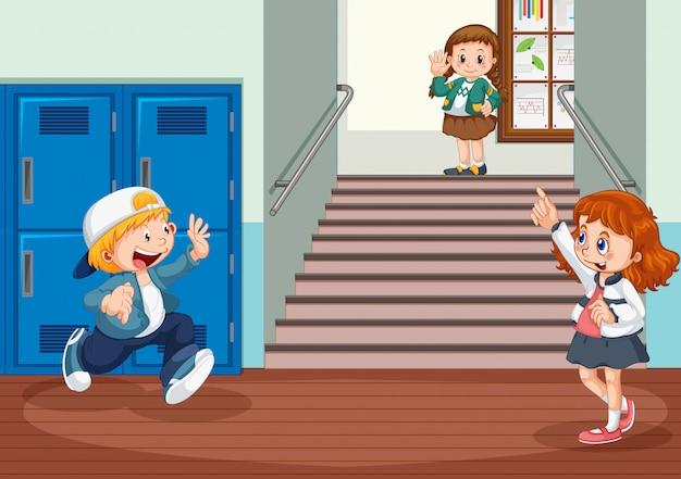 Student na korytarzu