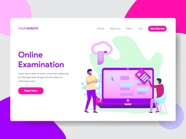Student online examination illustration for web pages