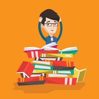 Student siedzi w ogromnym stosie książek.