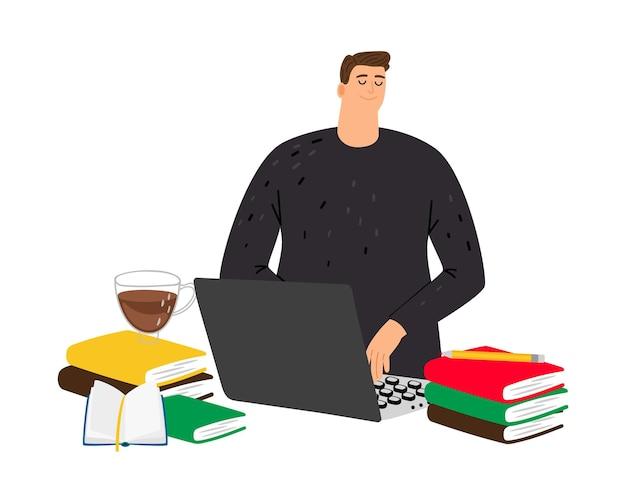 Student studiuje. facet przy komputerze z książkami.