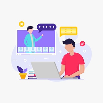 Student uczący się z laptopem w celu edukacji szkolnej online