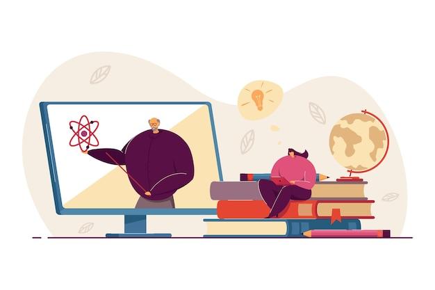 Student uczy się fizyki online, ogląda webinarium, bierze kurs na odległość. osoba ucząca się w domu. nauczyciel prowadzi seminarium wideo w internecie