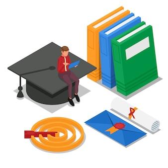 Student uczy się online i siedzi na czapce ukończenia szkoły. dokument dyplomowy. wektor