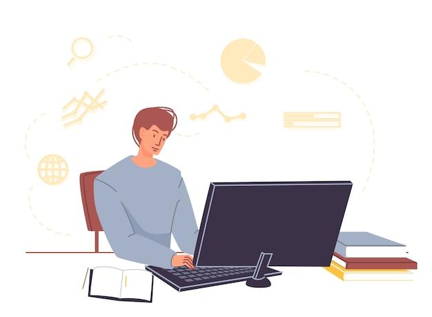 Student uniwersytetu lub college'u studiuje online w domu
