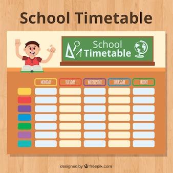 Student w klasie i harmonogram szkoły