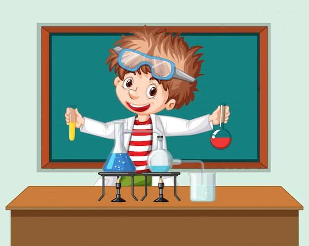Student w klasie nauk ścisłych pracujący z narzędziami