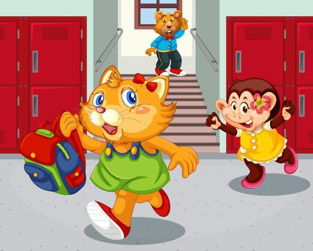 Student w korytarzu szkolnym