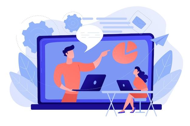 Student z laptopem i lektor przy ekranie lcd seminaria internetowe seminaria internetowe transmisje internetowe