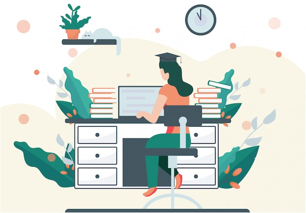Studentka pracuje nad zadaniem