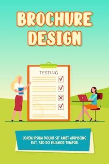 Studentka zdająca egzamin i sprawdzanie odpowiedzi szablon broszury