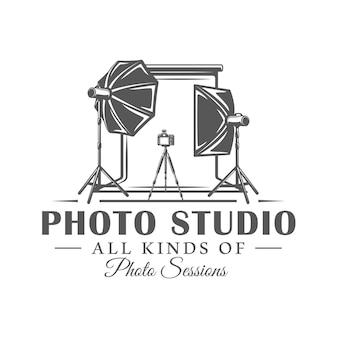 Studio fotograficzne etykieta na białym tle ilustracja