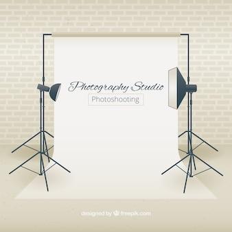 Studio fotografii z reflektorami