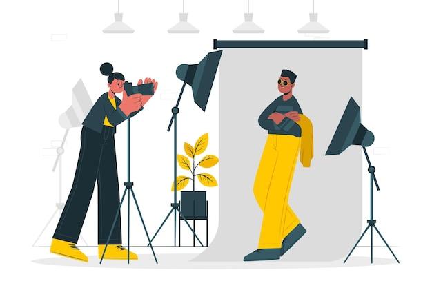 Studio ilustracja koncepcja fotografa