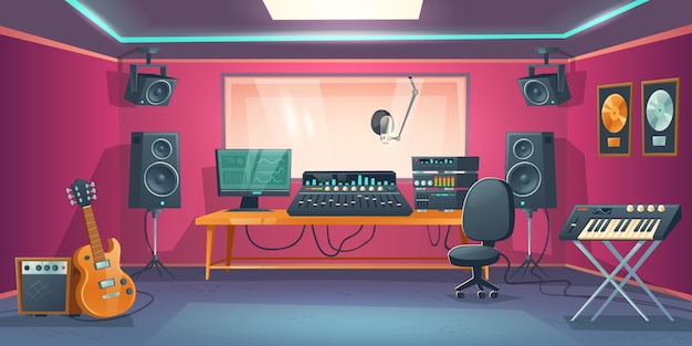 Studio muzyczne i kabina piosenkarza