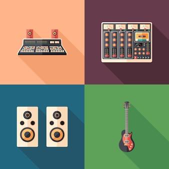 Studio nagrań płaskie kwadratowe ikony. ustaw 2