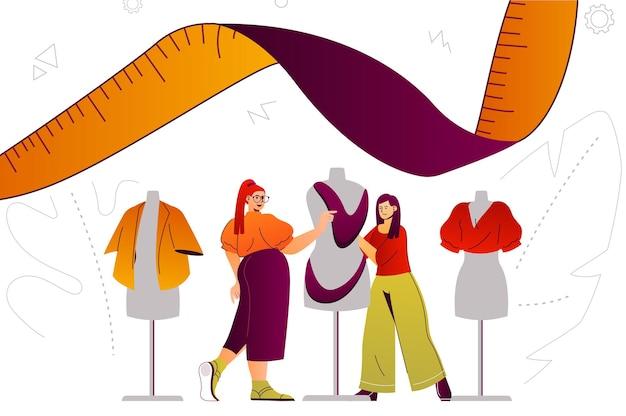 Studio projektantów ubrań koncepcja sieci web usługi projektanta mody szycie na zamówienie