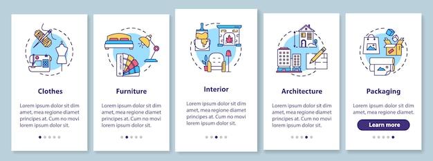 Studio projektowe wprowadzające ekran strony aplikacji mobilnej z koncepcjami. usługi projektanta. projekty kreatywne opis przejścia 5 kroków instrukcje graficzne. szablon wektorowy interfejsu użytkownika z kolorowymi ilustracjami rgb