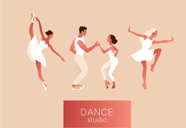 Studio tańca. zestaw szczęśliwych aktywnych pozytywnych kobiet tańczących. balerina w tutu, w pointe butach, para tańczy salsę. ilustracja