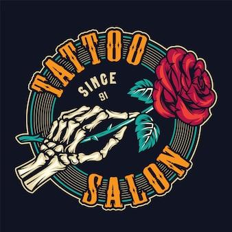 Studio tatuażu kolorowy okrągły nadruk