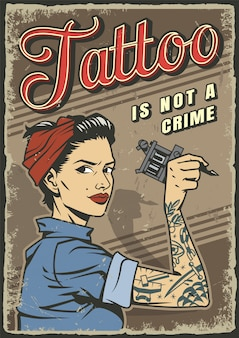 Studio tatuażu vintage kolorowy plakat