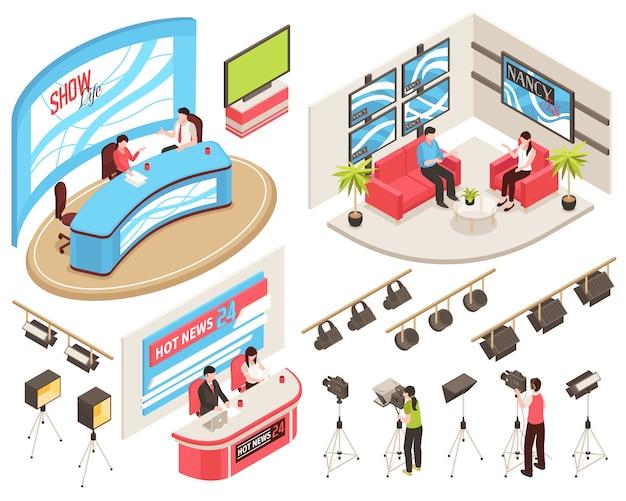 Studio telewizyjne z wiadomościami i programami telewizyjnymi