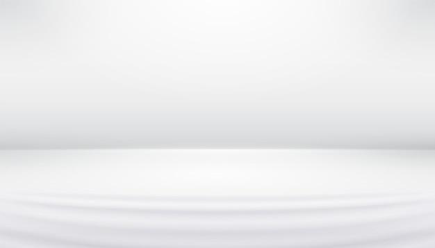 Studio tło białe szare abstrakcyjne z gładkimi liniami, cienie