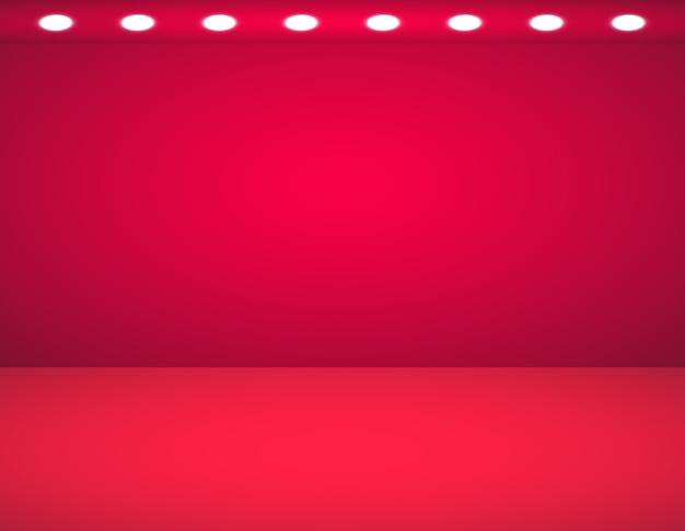 Studio tło. wektor puste czerwone studio z reflektorami