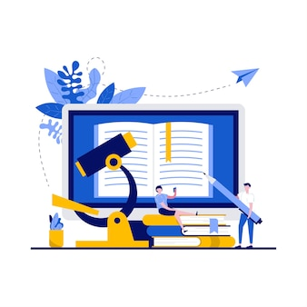 Studiowanie koncepcji z charakterem, mikroskopem, komputerem. student razem czytając i siedząc na stosie książek w bibliotece uniwersyteckiej lub szkolnej