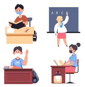 Studiowanie w szkole, na uczelniach i na uniwersytetach podczas pandemii koronawirusa. uczniowie siedzący przy ławkach uczą się nowych dyscyplin. nauczyciel wyjaśniający uczniom nową dyscyplinę. wektor w stylu płaskiej