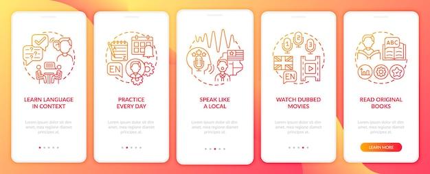 Studiowanie wskazówek językowych wprowadzających zestaw ekranów stron aplikacji mobilnej