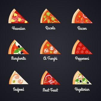 Stwórz zestaw ikon dekoracyjnych do pizzy