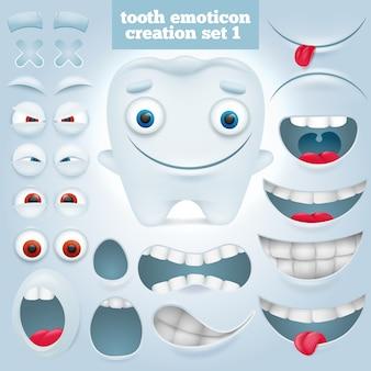 Stworzenie zestawu emotikon kreskówki zęba.