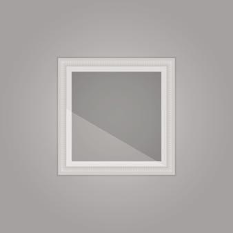 Stworzona prosta szara ramka z lustrzanym odbiciem