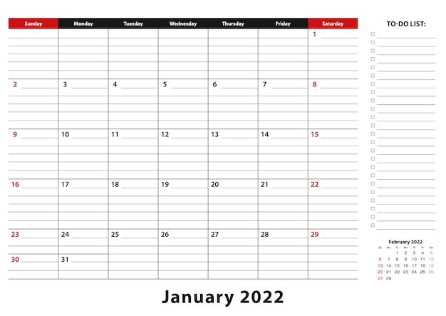 Styczeń 2022 miesięczny podkład na biurko tydzień kalendarzowy zaczyna się od niedzieli, format a3.