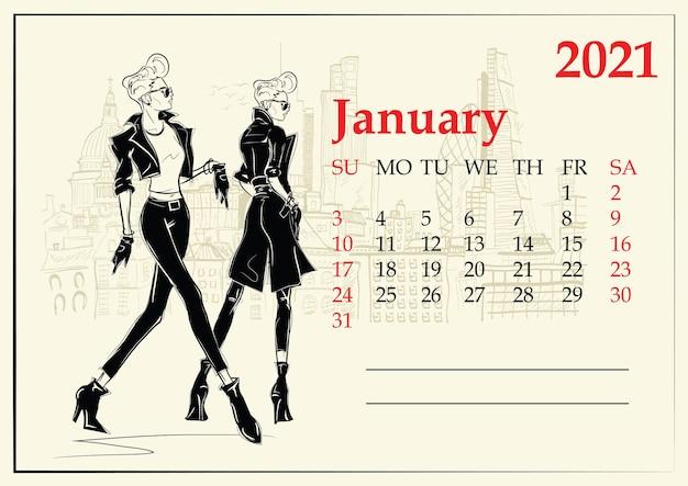 Styczeń. kalendarz z dziewczyna moda w stylu szkicu.